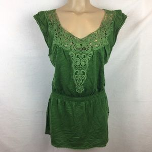 Anthro Deletta Green Embroidered Peplum Top M